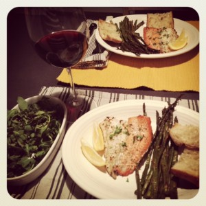 Broiled Salmon & Cod with Asparagus and Rustic Baguette