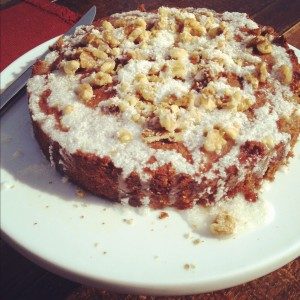 Spiced Carrot Cake w/ Walnut Coconut Glaze