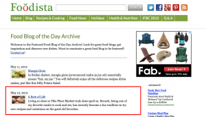A Byte of Life featured as the Blog of the day on Foodista