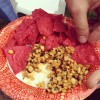 Elote with Red Tortilla Chips