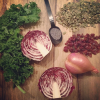 Seasonal Kale Radicchio Salad w/ Poppyseed Dressing